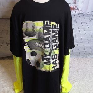 3/$15 Starter black yellow graphic tee shirt sz XL